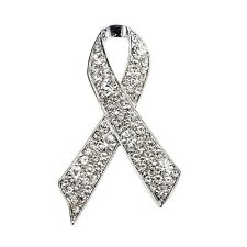 Luxury Argento Bianco Strass Breast Cancer Awareness fiocco pin spilla br411
