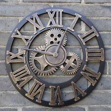 Orologio da Parete Vintage Ingranaggio stile retrò in legno con numeri romani 3D