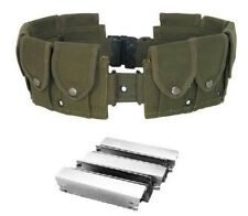 10 Pocket OD Mosin Nagant Rifle Ammo Belt + 5 7.62x54 M44 91/30 Stripper Clips