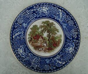 Royal Staffordshire Clarice Cliff Blue and Brown Polychrome Rural Scenes Plate