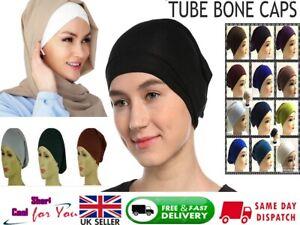 Ladies Women Under Scarf Hijab TUBE BACK Bone  BONNET Cap 12 colors Stretchable