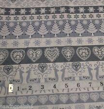 Scandi Cream Grey Hearts Deers on Grey Fabric, fat 1/4's,100%25 cotton 1588 S