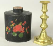 New ListingFine 19Th C Ct Paint Decorated Tin Toleware Covered Tea Canister Original Paint