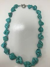 1.5 cm Turquoise Nugget Iris Apfel's Style Necklace/Choker Spring Ring Clasp