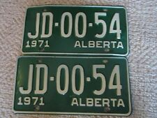Pair of 1971 Alberta Passenger Car License Plates JD0054- FREE SHIPPING