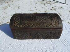 Antique Primitive Carved Folk Art Lidded Box Carved from Single Piece of Wood