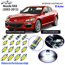 8 Bulbs LED Interior Light Kit Cool White Dome Light For 2003-2012 Mazda RX8