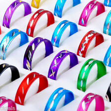 Wholesale Women Men 50Pcs Mixed Aluminum Bulk Round Band Ring Jewelry Gift