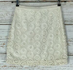 Ann Taylor 0 Petite Pencil Skirt White Ivory Crochet Lace Lined Business Casual