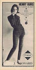 PUBLICITE ADVERTISING 094 1964 HENRI OURS le couturier du sport J.Leonard