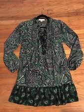 $150 MICHAEL KORS Green Paisley Lace Up Dress Size XS