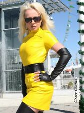 Lederkleid Leder Kleid Gelb Mini Asia Maßanfertigung