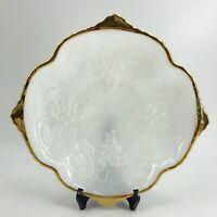 Vintage Anchor Hocking Grapes Leaves Milk Glass Raised Bowl with Gold Rim Trim
