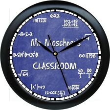 Personalized Math Equations Wall Clock Teacher Gift Numbers Blue Chalkbrd