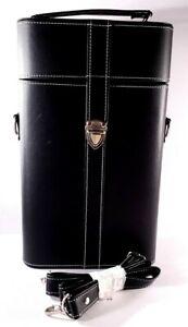 Black 2 Bottle Wine Carrier / Tote / Caddy w/ Strap - Push Lock Closure