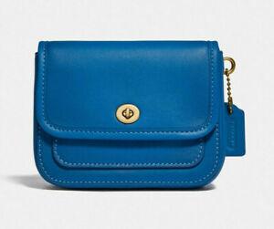Coach mini rambler belt bag Leather Clutch ~NWT~ Blue 833