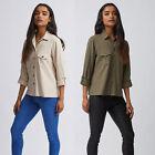 Ex Dorothy Perkins Jersey Roll Sleeve Shirt in Khaki & Stone PETITE / REG 6 - 18
