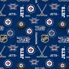 NEW WINNIPEG JETS NHL HOCKEY 100% COTTON FLANNEL FABRIC MATERIAL BY THE 1/2 YARD