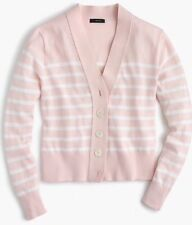 J.CREW Cropped lightweight cardigan sweater stripe Light Pink/White H9342 XS S L