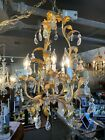 1960s Gilt Metal and Crystal Four Light Hollywood Regency Tole Chandelier