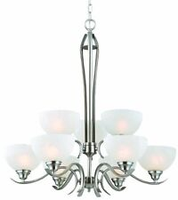 Trevie Collection 9 Light Chandelier Satin Nickel Finish Alabaster Glass #2839
