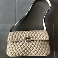 Vintage BALLY Beige Tan Quilted Handbag Bag Purse PREOWNED