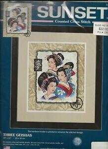"Dimensions Sunset Cross Stitch Kit 13702 Three Geishas on Printed Aida 10""x12"""