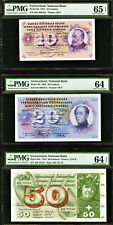 Switzerland 10, 20, 50 Francs 1961-74 Pick- 45t 46i 48n Gem Unc Pmg 64 - 65 Epq