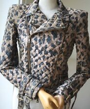 BALMAIN QUILTED LEOPARD JACKET FR 38 UK 8
