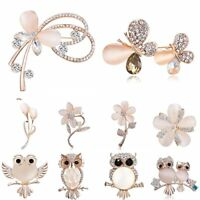 Fashion Crystal Rhinestone Flowers Butterfly Brooch Pin Women Costume Jewelry
