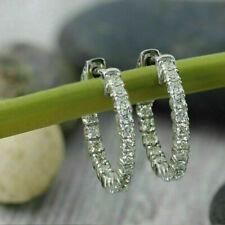 0.50 Ct Round Cut D/VVS1 Diamond Inside Out Hoop Earrings 14k White Gold Over
