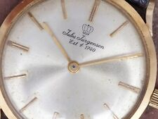 Jules Jurgensen 60s Vtg Slim 18k Gold Bauhaus Style Dress Watch 17j Peseux 7000