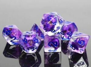 Purple Flameskull Dice Set Poly RPG DnD Dungeons Dragons AD&D Pathfinder d20