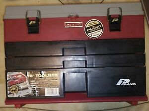 VINTAGE PLANO #833 TACKLE BOX 3 DRAWER & TOP STORAGE PIT TOOL BOX RED & BLK EXC.