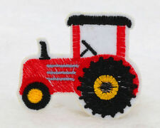 NEW 2PCS red 48*65mm tractor Embroidered Iron On Patch Clothes Appliques DIY