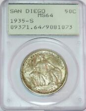 1935 S SAN DIEGO COMMEMORATIVE SILVER HALF DOLLAR COIN GEN 1 PCGS MINT STATE 64
