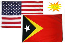 3x5 3'x5' Wholesale Set (2 Pack) USA American & East Timor Leste Flag Banner