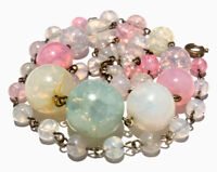 "Vintage Art Deco Crackle Pastel Glass Bead Wired 17.5"" Necklace GIFT BOXED"