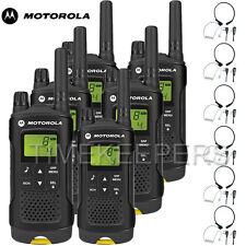 8 KM Motorola XT180 WALKIE TALKIE DUE VIE PMR 446 Radio sei + 6 MICROFONI GOLA