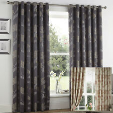 """Eyelet Lined Curtains 66"""" Wide x 90"""" Drop Sissinghurst Slate Grey Or Ruby Red"""