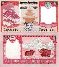 Nepal 5 rupees Banknote World Paper Money aUNC Currency Pick p-60b Bill Yaks