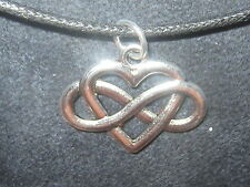 CELTIC KNOT INFINITY HEART IRELAND IRISH SILVER 25mm PENDANT CHARM NECKLACE