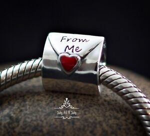 Genuine SOLID 925 Sterling Silver charm bead love letter fits bracelet AUM SS