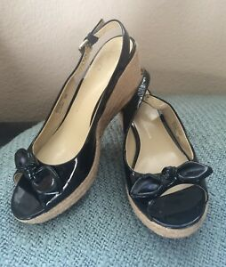 Franco Sarto Black Patent Leather Espadrille Wedges With bow In Size 8M US