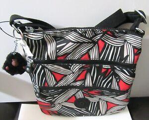 Kipling KEIKO BOLD LEAF RED Cross Body Purse- triple zipper - Daniel  monkey