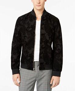 $129.50 INC International Concepts Flocked Paisley Full-Zip Bomber Black Jacket