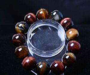 Natural Brazil Yellow Tiger's Eye Gemstone Round Beads Bracelet 105.43g