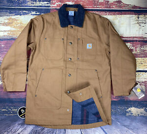 NWT Carhartt Youth Large Boys Flannel Lined Chore Coat w/ Sherpa Collar 14/16