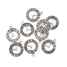 wall clock Tibetan Silver Bead charms Pendants fit bracelet 10pcs 20*18mm