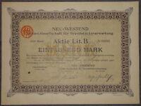 Neu-Westend Aktien-Gesellschaft für Grundstücksverwertung 1923 1000 Mark